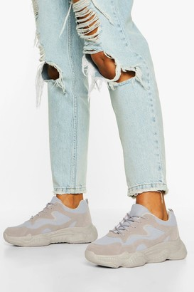 boohoo Lace Up Bubble Sole Trainers