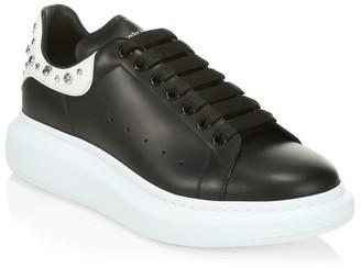 Alexander McQueen Men's Oversized Studded Leather Flatform Sneakers
