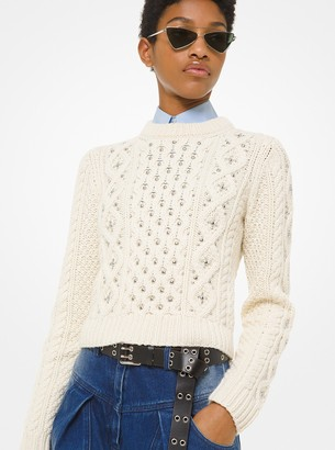 Michael Kors Studded Hand-Knit Cable Cashmere Sweater