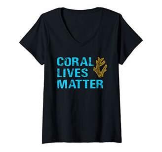 Womens Coral Lives Matter Saltwater Aquarist Gift Reef Aquarium V-Neck T-Shirt