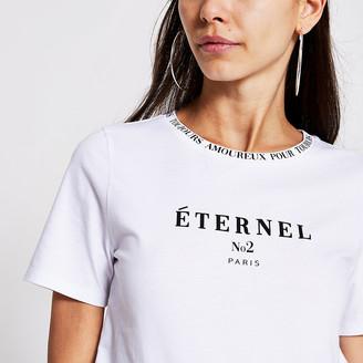 River Island White 'Eternal' short sleeve T-shirt