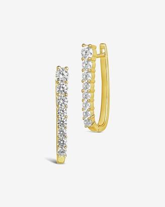 Express Sterling Forever Cubic Zirconia Hinged Hoop Earrings