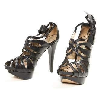 Pura Lopez Black Leather Sandals