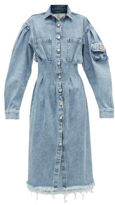 Natasha Zinko Distressed Denim Shirt Dress - Womens - Denim