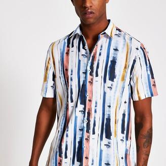 River Island White paint stripe print slim fit shirt