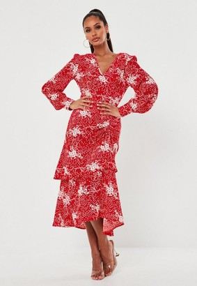 Missguided Red Floral Ruched Side Tiered Midi Dress