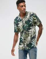 Pull&Bear Revere Shirt With Palm Print In Green