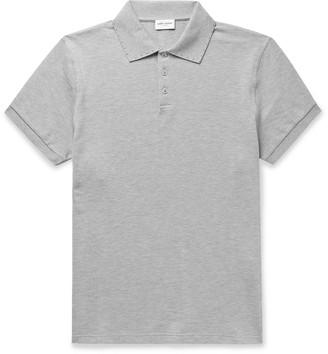 Saint Laurent Studded Melange Cotton-Pique Polo Shirt