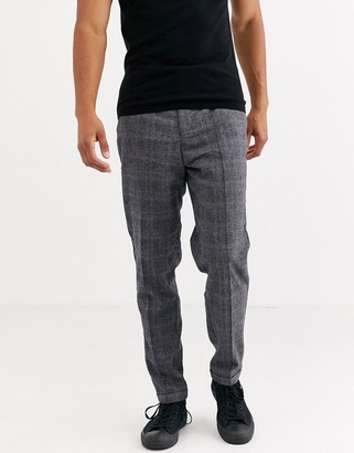 Selected wool mix regular fit trousers in grey prince of wales check