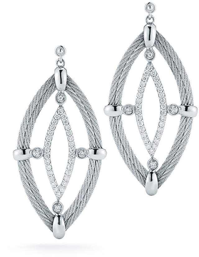 Alor 18k Diamond & Cable Marquise Drop Earrings