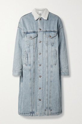 R 13 Lyle Oversized Fleece-trimmed Denim Coat - Light denim