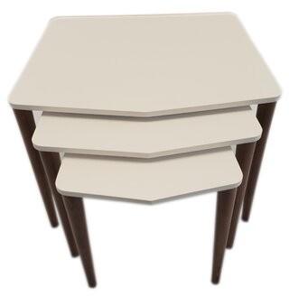 George Oliver 3 Pcs Nesting Table, White, Walnut