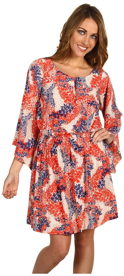 Jessica Simpson Floral Print Kimono Sleeve Dress (Red) - Apparel