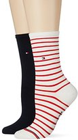 Tommy Hilfiger Women's TH Small Stripe 2P Socks,6/8 pack of 2