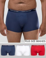 Tommy Hilfiger Plus Stretch 3 Pack Trunks In Red/White/Navy