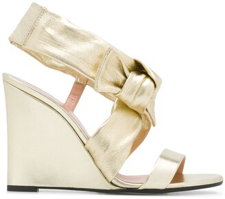 Pollini Bow Detail Wedge Heel Sandals