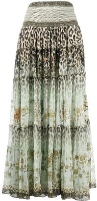 Camilla Mix Print Tiered Maxi Skirt