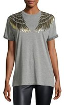 RED Valentino Cotton T-Shirt w/ Lamé Wing Detail