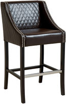Asstd National Brand Taryn Quilted Bonded Leather Barstool with Nailhead Trim
