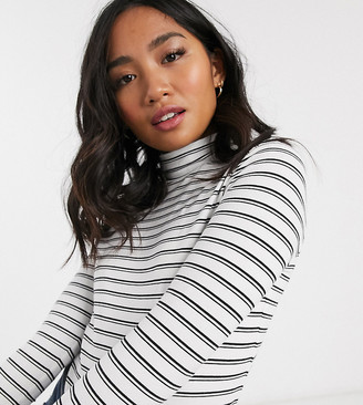 ASOS DESIGN Petite turtle neck long sleeve top in stripe
