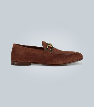 Gucci Suede horsebit loafers with Web
