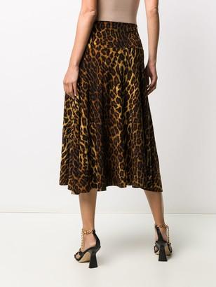 Norma Kamali High-Waisted Leopard-Print Skirt