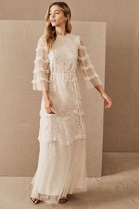Anthropologie Needle & Thread Patchwork Lace Dress By in Beige Size 0