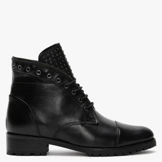 Daniel Sast Black Leather Zip Lace Up Ankle Boots