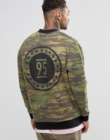 Asos Jersey Bomber Jacket With Camo Print & Wash