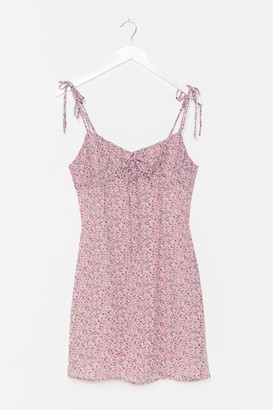 Nasty Gal Womens Strappy Ruched Bust Floral Mini Dress - Purple - 4
