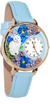 Whimsical Watches Women's G0120014 White Cat Baby Blue Leather Watch
