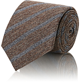 Brunello Cucinelli MEN'S STRIPED HERRINGBONE-WEAVE NECKTIE-TAN SIZE OS