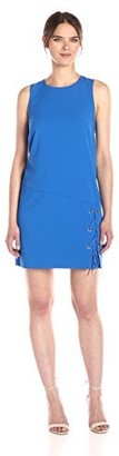Kensie Women's Stretch Crepe Lace Up Shift Dress