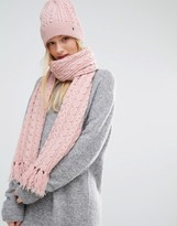 Tommy Hilfiger Pink Knitted Scarf and Beanie Gift Set