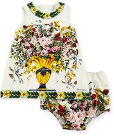 Dolce & Gabbana Sleeveless Flower Vase Shift Dress w/ Bloomers, Size 12-36 Months
