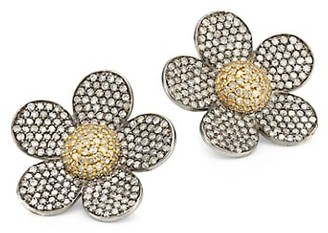 Nina Gilin 14K Black Rhodium Silver & Diamond Floral Stud Earrings