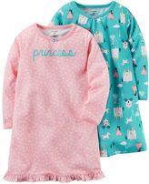 """Carter's Toddler Girl 2-pk. """"Princess"""" Knee Length Nightgowns"""