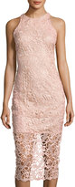 Neiman Marcus Sleeveless Body-Con Lace Midi Dress, Blush