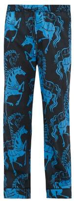 Desmond & Dempsey Caballo Horse Print Cotton Pyjama Trousers - Mens - Blue Multi