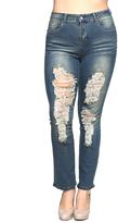 Be Girl Blue Vintage Distressed Skinny Jeans - Plus Too