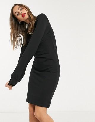Noisy May corset sweat dress in black