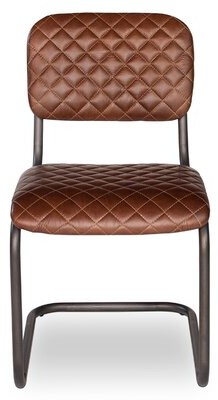 17 Stories Luyster Leather Upholstered Side Chair in Brown (Set of 2