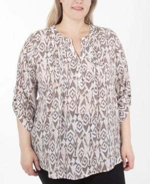 NY Collection Women's Plus Size Slubbed Blouse