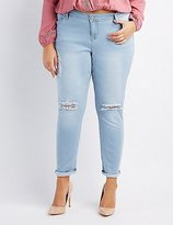 Charlotte Russe Plus Size Destroyed Cropped Skinny Jeans