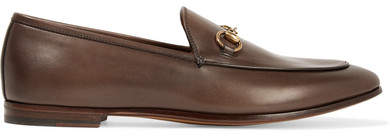 Gucci Jordaan Horsebit-detailed Leather Loafers - Chocolate
