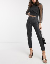 Topshop coated mom jeans in black