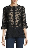 Elie Tahari Magda 3/4-Sleeve Lace Blouse, Black