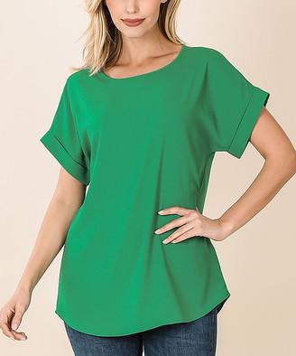 Lydiane Women's Tunics KGREEN - Kelly Green Boatneck Rolled Short-Sleeve Top - Women