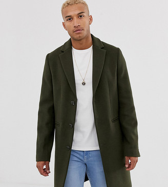 ASOS DESIGN Tall wool mix overcoat in khaki