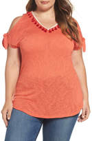 Bobeau Tassel Trim Slub Knit Top (Plus Size)